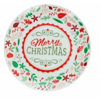 Fuente navidad panettone redonda cerámica de acebo y piñas rojo y verde Merry Christmas Ø30cm