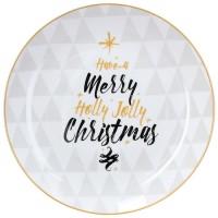 Fuente navidad panettone redonda cerámica árbol frase negro y dorado Ø30cm