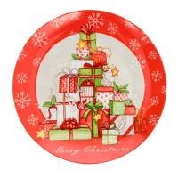 Fuente navidad panettone redonda cerámica regalos rojos y verdes Ø30cm