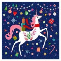 Servilletas cuadradas estampado unicornio navideño Happy Unicorn PPD 33x33cm