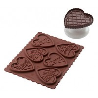 Moule chocolat silicone + coupeur biscuit coeur Silikomart