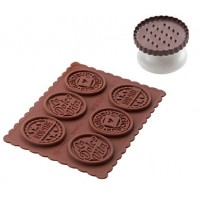 Chocolat cookie silicone mold + round cookies cutter Dolce Vita Silikomart