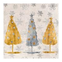 Servilletas papel navideñas estampado Árboles de Navidad dorado y plata Holiday Trees PPD 33x33cm