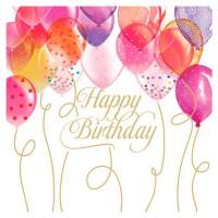 Servilletas cuadradas Globos cumpleaños Birthday Balloons PPD 33x33cm