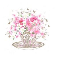 Servilletas cuadradas Taza té con flores Tea Cup Blossoms PPD 33x33cm