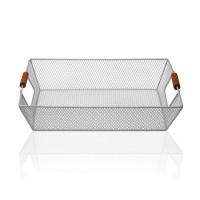 Frutero cesta rectangular metal gris asas madera 35x25x8h cm