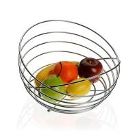 Ciotola di frutta rotonda cromata con maniglia 25 x 25,50 cm