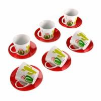 Juego 6 tazas de café con plato rojo y taza estampado Cactus