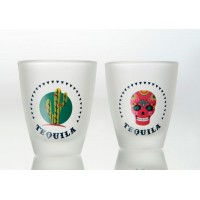Set 6 chupitos cristal decorados con cactus y calaveras Frida 6x25ml