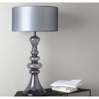 Lámpara de mesa base cristal gris y pantalla gris Adele Ø45x85h cm