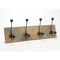 Perchero étnico tablas madera y gris 4 colgadores Yucatan 66x12x23h cm