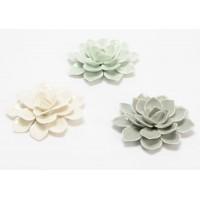 Flor decorativa cerámica Clásico 3 colores blanca, verde y gris Ø10 cm