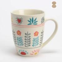 Mug con asa gres pintado a mano estampado flores y hojas Cancun