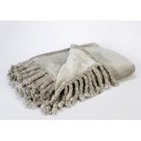 Manta polar con flecos gris claro 130x170cm