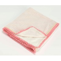 Manta infantil crema remate borlas color rosa 75x100 cm