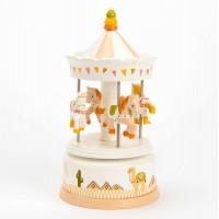 Carrusel caballitos tiovivo infantil con música beige cactus Clotaire 10x21cm