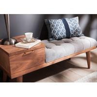 Mueble bajo banqueta madera nogal con patas,1 cajón y cojín con capitoné gris 116x40x50h cm