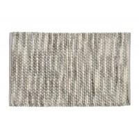 Alfombra baño algodón pompones relieve gris y blanco Loop 50x80cm