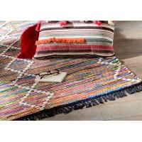 Alfombra algodón colores rombos blancos Ibiza 80x120 cm