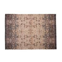 Alfombra antideslizante algodón y poliéster gris y rosa Katmandú 133x195 cm