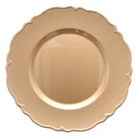 Bajo plato resina redondo dorado borde ondas doble Ruby 33cm