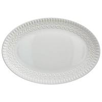 Bandeja fuente ovalada cerámica blanca con relieve Laurel 45x30 cm
