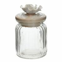 Bote cristal con tapa cerámica beige con flor Joy Tognana 29cl Ø7,5x12h cm