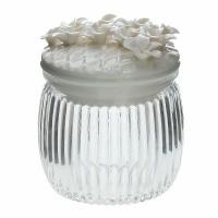 Bote cristal con tapa cerámica blanca con flores Net Tognana 16cl Ø8x9,5h cm