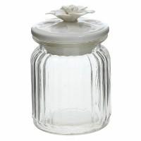 Bote cristal con tapa cerámica blanca dibujada con flor Love Tognana 29cl Ø7,5x12h cm