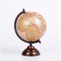 Bola del mundo beige y pie metálico bronce 15 cm