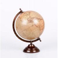 Bola del mundo beige y pie metálico bronce Ø20 cm