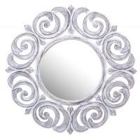 Espejo de pared redondo madera blanco decapado dibujo espirales Ø60 cm
