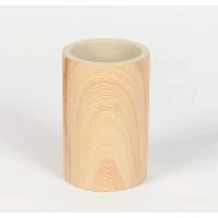 Vaso portacepillos redondo poliresina efecto madera natural Ø7x11h cm