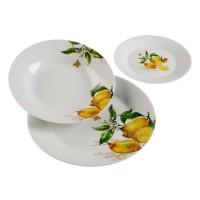 Vajilla porcelana blanca limones con hojas Lemon18 piezas