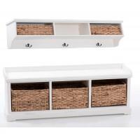 Mueble entrada con banco y perchero de madera de pino blanco con cestas mimbre 120x30x45h cm