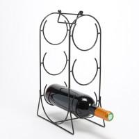 Botellero metálico negro 3 botellas con asa 13x21x37h cm