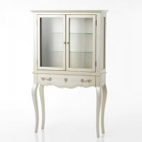 Consola clásica madera mdf plateada acabado envejecido con cajón y vitrina 90x30x150h cm