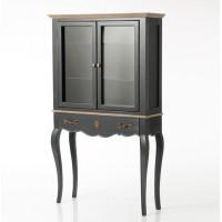 Consola clásica madera mdf color negro con cajón y vitrina 90x30x150h cm