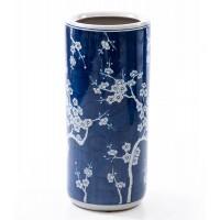 Paraguero redondo cerámico estilo oriental azul con flores Ø20x46h cm