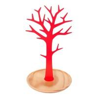 Joyero de sobremesa árbol metálico rojo con base madera