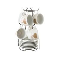 Juego 6 tazas de café porcelana con plato beige con estampado corazon marron en soporte metálico