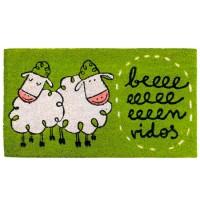 """Felpudo verde con ovejas frase divertida """"Beeeenvidos"""" 70x40cm"""