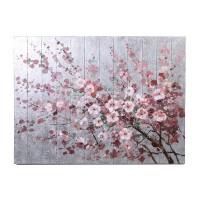 Lienzo cuadro flores rosas sobre fondo pared plateada 120x90 cm