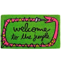 Felpudo verde con serpiente y frase divertida: welcome to the jungle 70x40cm