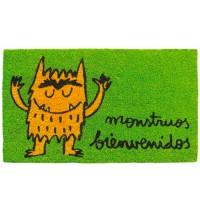 Felpudo verde frase divertida: monstruos bienvenidos 70x40cm