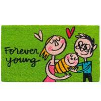 Felpudo verde con familia y frase Forever young 70x40cm felpudo laroom verde
