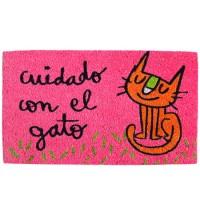Felpudo rosa frase divertida: cuidado con el gato 70x40cm