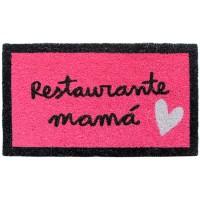 Felpudo rosa con frase divertida: restaurante mamá 70x40cm