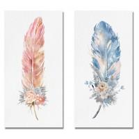Cuadro lienzo serigrafiado pluma con flores 28x35cm