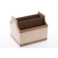 Portamandos polipiel beige con rombos y remate beige 6 espacios 18x15x15h cm